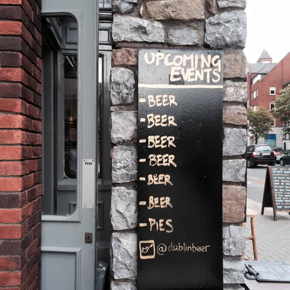 Upcoming events, beer, pub, Dublin, Ireland.